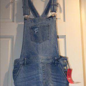 New! Distressed Denim Overall Dress